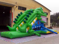 Inflatable Green Crocodile Slide