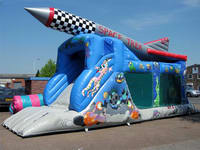 Inflatable Space Trek Slide And Moonwalk Combo
