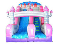 Indoor Party Use Inflatable Dry Slide In Pink Castle Shape