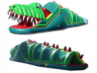 Full Color Green Inflatable Happy Gator Crocodile Obstacle Course