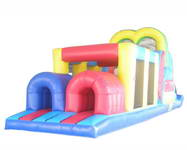 Inflatable Pink Printing Obstacle Course for Park Rentals