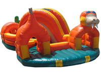Snake Cartoon Character Inflatable Rattler Run Obstacle Course
