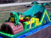 Funny Inflatable Jungle Frog Obstacle Course for Kids