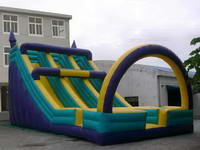 Color Customized Inflatable Trio Lane Slide With An Arch