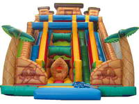 Giant Inflatable Dual Lanes Slide In Azteca Theme
