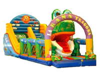 Inflatable Frog Theme Slide With Obstacle And Climb Ramp