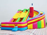 Inflatable Curved Lane Slide With Multi Colors