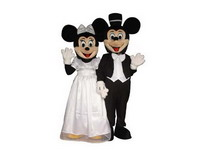 Wedding Dress Mickey and Minnie Mascot Costume