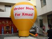 Custom Yellow Rooftop Balloon with Banners for Xmas