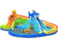 2017 Octopus Character Inflatable Water Park with Shark Slide