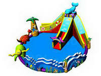 Commercial Grade Inflatable Water Park with Dolphin Water Slide