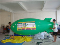 4m Long Green Advertising Blimp with Logos Printing