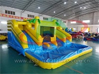 Inflatable Palm Tree Moonwalk With Water Slide