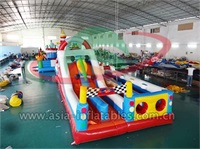 Inflatable Car Race Obstacle Challenge Course For Kids