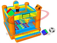 2 In 1 Inflatable Bouncer With Twister Game Field
