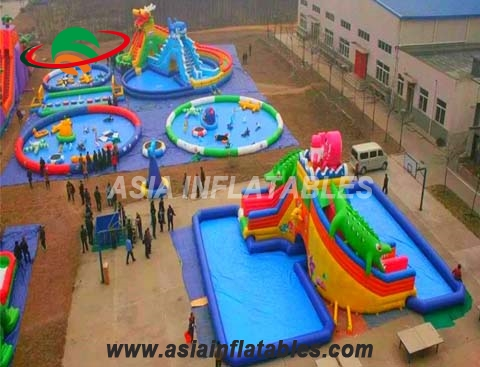 Extreme Inflatable Project Combo Water Park With Pool For Fun