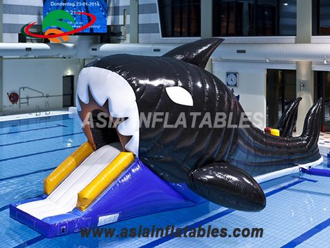 Kids Toy Shark Shape Inflatable Floating Water Slide Course