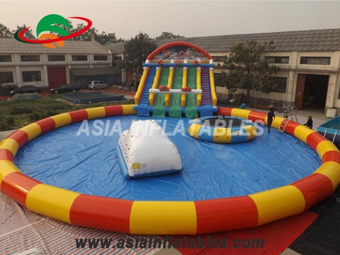 Giant Colorful Inflatable Water Park with Wave Slide for Summer