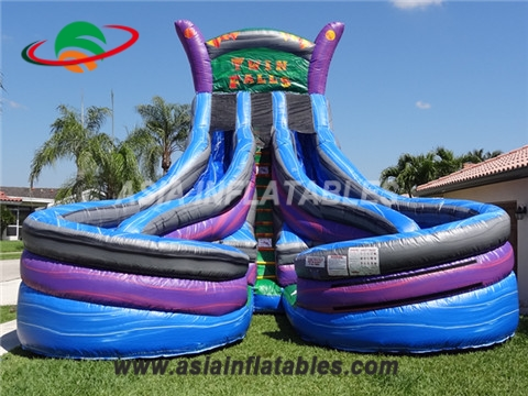 Commercial customized inflatable twin falls water slide with double lane for sale