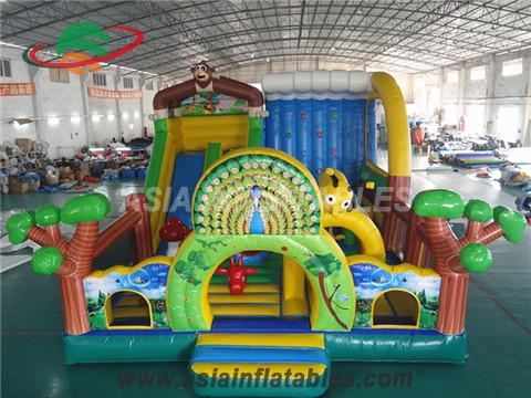 Colorful Inflatable Peacock Bouncer Playground For Kids